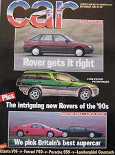 Car 11/1989 featuring Lamborghini, Ferrari F40, Cizeta, Porsche, Lotus, Panther