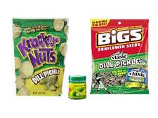 3PC PICKLE SNACK PACK - DILL PICKLE SUNFLOWER SEEDS, KRACKER NUTS PEANUTS & SALT
