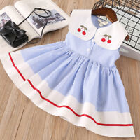Toddler Kids Baby Girls Clothes Sleeveless Cherry Stripe Party Princess Dresses