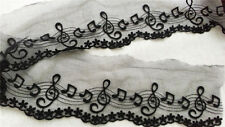 3 yards of black music notes embroidered on 4 inch black lace trim -LSC0008B