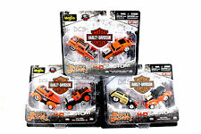 MAISTO MUSCLE MACHINES 1/64 HARLEY DAVIDSON H-D CUSTOM FORD 2 PACK 3 SET 15209