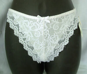 New lot 2 sz S HANNA Lace Thong Panties white nude stretch nylon Canada 802 S/P