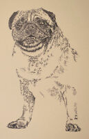Pug Dog Art Portrait Print #53 Kline adds dog name free. Drawn from words. GIFT