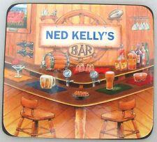 NED KELLY'S BAR NAME SET OF 6 CORK BACKED COASTERS