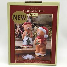 SPODE Christmas Tree Teddy Bear Salt & Pepper Shaker Set Holiday Table Decor NEW