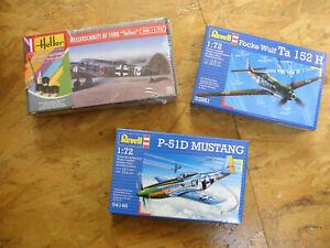 LOT 3 maquettes neuves MESSERSCHMITT-MUSTANG-FOCKE WULF