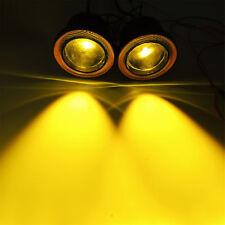"2.5"" Inch Yellow LED Fog Light Projector w/ Amber COB Halo Angel Eyes Ring Bulb"