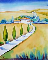 Toscana  Landschaft  Zypressenallee Original Aquarell Watercolor Landscape Italy