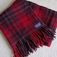 "Vtg PENDLETON Wool STADIUM Throw BLANKET ""Robe In A Bag"" PLAID Red-Gray 52x68"