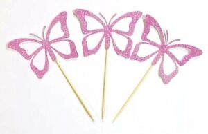 12x Pink Butterfly Cupcake Toppers Birthday /CUP CAKE / Christening / Party