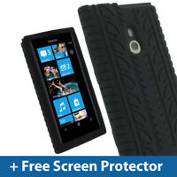 Black Silicone Tyre Skin for Nokia Lumia 800 Windows Case Cover Holder Bumper