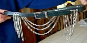 Rocker Leather Belt With Metal Silver Tone Chain Size 34--38