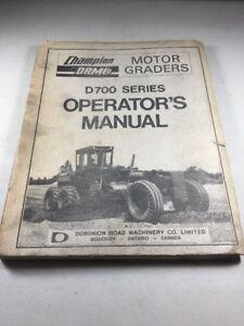 Champion D700 Series Motor Grader & Detroit Diesel In-Line 71 Operators Manuals