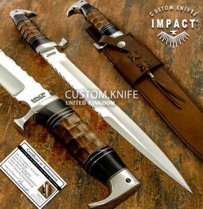 IMPACT CUTLERY RARE CUSTOM D2 LARGE ART BOWIE KNIFE BURL WOOD HANDLE