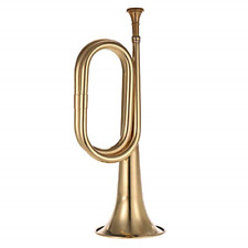 Muslady B Flat Bugle Call Trumpet Brass Cavalry Horn with Mouthpiece for School