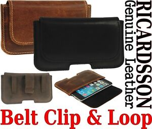 BELT CLIP & LOOP HOLSTER RICARDSSON GENUINE LEATHER POUCH CASE FOR APPLE IPHONE