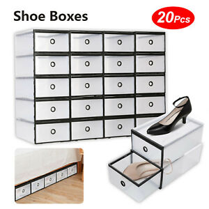 20x Stackable Plastic Shoe Storage Boxes Drawer Clear Foldable Durable Organiser