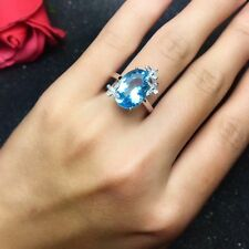5.8Ct Oval Cut large Aquamarine Diamond Floral Cocktail Ring 14K White Gold Over
