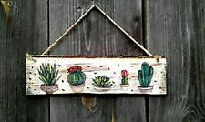Boho room Decor Home Cactus print wall art Succulent wood Handmade Decoupage