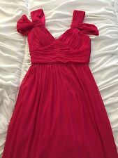 Max And Cleo 4 Long Evening Dress Gown Hot Bright Pink Sleeveless Off Shoulder V