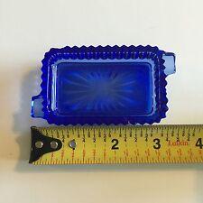 """Vintage Cobalt Blue Double Ashtray Rectangle 3 1/2"""""""