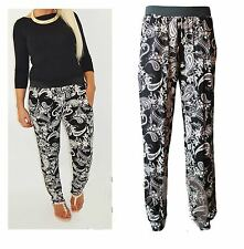 LADIES PAISLEY FLOWER PRINT TROUSER HAREM ALI BABA PANTS WITH POLO NECK TOP 8-16