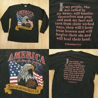 vtg 1995 long sleeve t-shirt LARGE america time to pray jesus tee 90s eagle usa