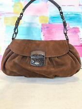 $950 PRADA Brown Suede Hobo Vintage Shoulder Bag Leather Trim Lavender Blush EUC