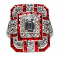 Bague Ring Femme Carré Pierre Saphir Diamants Rouge Modèle 60