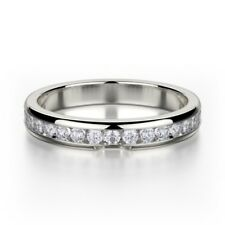 Diamond Ring Size 8 9 0.46 Carat Round Channel Half Eternity Ring 18k White Gold