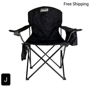 New, Coleman Camping Chair with Built In 4 Can Cooler, Black, Lightweight. New