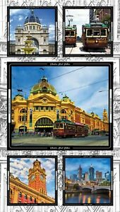 Melbourne Sights Black Panel - 100% Cotton Quilting Fabric PANEL ONLY