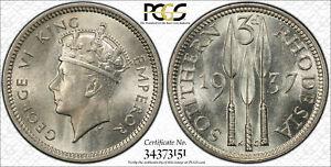 British Rhodesia, 1937 George VI Threepence PCGS MS 64 3 Pence. 1,228,000 Minted