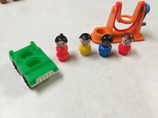 VINTAGE FISHER PRICE LITTLE PEOPLE MULTICULTURAL PCS  CAR  SWING  LOT