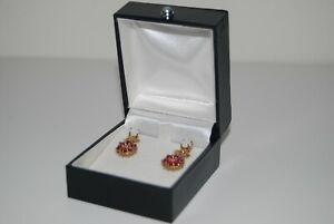 9ct Gold Ruby/Citrine/Opal Drop Earrings