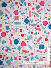 Button Thread Spool Scissor Toss White Cotton Fabric Studio E Sew Much Fun YARD