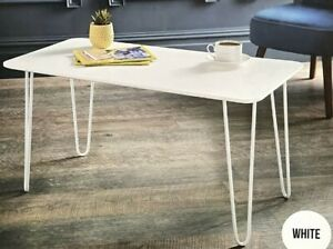 White Modern Coffee Table Hairpin Legs Contemporary Design Living Room Furniture