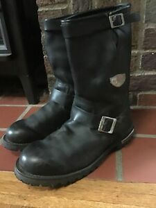 RED WING 970 Men's Black Leather Motorcycle Engineering Boots Buckle USA 11.5 E2