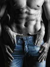 SUPERB SEXY EROTIC SIX PACK MAN CANVAS #429 BLUE JEANS SIX PACK COUPLES PICTURE