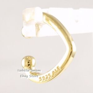 OPEN HEART CUFF Authentic PANDORA Shine 18K GOLD Plated Earring 267214 NEW w BOX