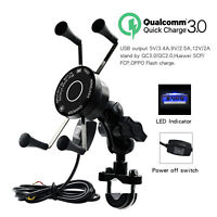 10W Qi Wireless Fast Charger Charging Motorcycle Phone Holder Mount Stand