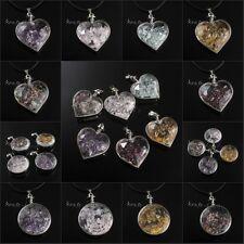 Natural Gravel Amethyst Rose Quartz Tourmaline Stone Wish Bottle Pendant Jewelry