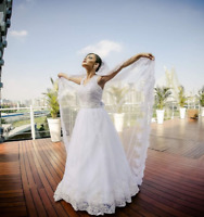 Elegant A Line White Wedding Dress Lace Beaded Bridal Gowns Size 2 4 6 8 10 12++