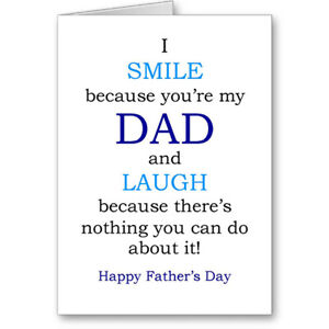 """Unique Generic Typographic """"Nothing you can do about it"""" Father's Day Card Gift"""