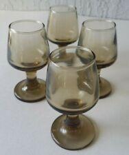 Vintage Pedestal Shot Glasses Smoke Set of 4