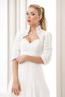 New Womens Ivory / White Taffeta & Lace Bridal Wedding Bolero Jacket S M L XL