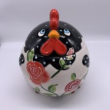 New listing Ltd Commodities Rooster Or Hen Cookie Jar Canister Roses Farmhouse Style