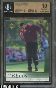 "2001 Upper Deck UD Golf #1 Tiger Woods RC Rookie BGS 10 "" SUPER PRISTINE """