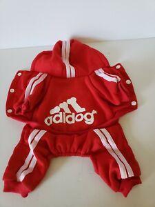 Adidog Red Hooded Sweatshirt Hoodie Sweater Unisex Small Dog Coat Warm Fleece