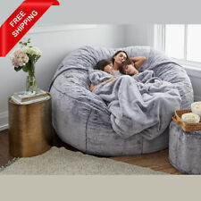 7ft Giant Soft Fur Bean Bag Cover Luxury Living Room Portable Sofa Bed Cover